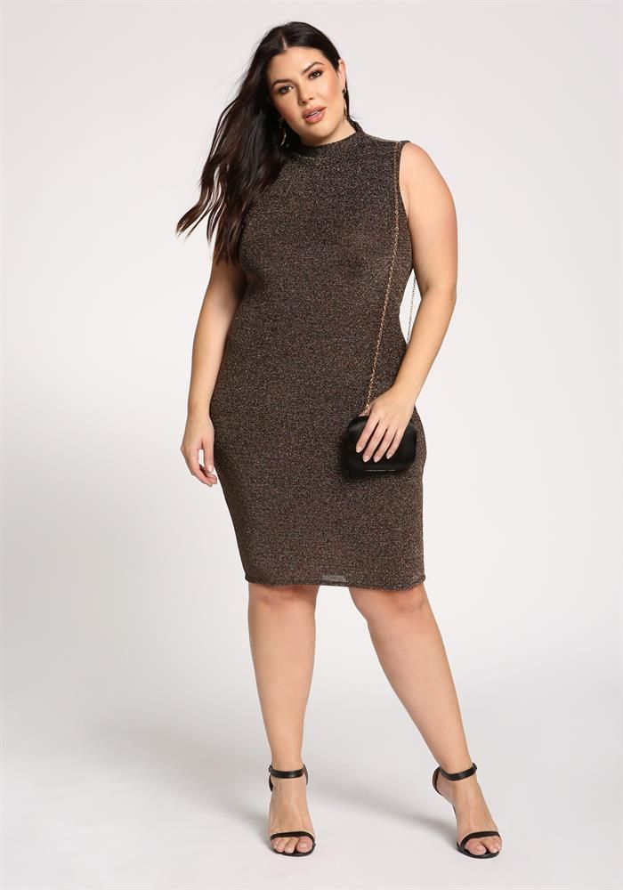 Plus Size Clothing | Plus Size Sparkled Bodycon Dress | Debshops ...