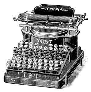 antique typewriter, black and white clipart, old magazine ad, vintage office clipart, yost typewriter illustration