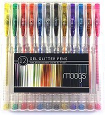 Gel Glitter Pens - 12 colored pens with glitter ink by moogs. With smooth even flow these high quality pens won't bleed. Each set comes with a protective case/stand and exclusive free wallpaper for mobile devices._. MAKE AWESOME ART THAT POPS!