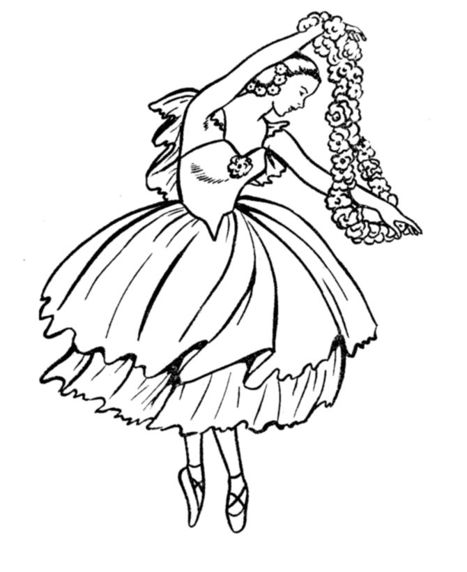 bluebonkers girl coloring pages ballerina with flowers