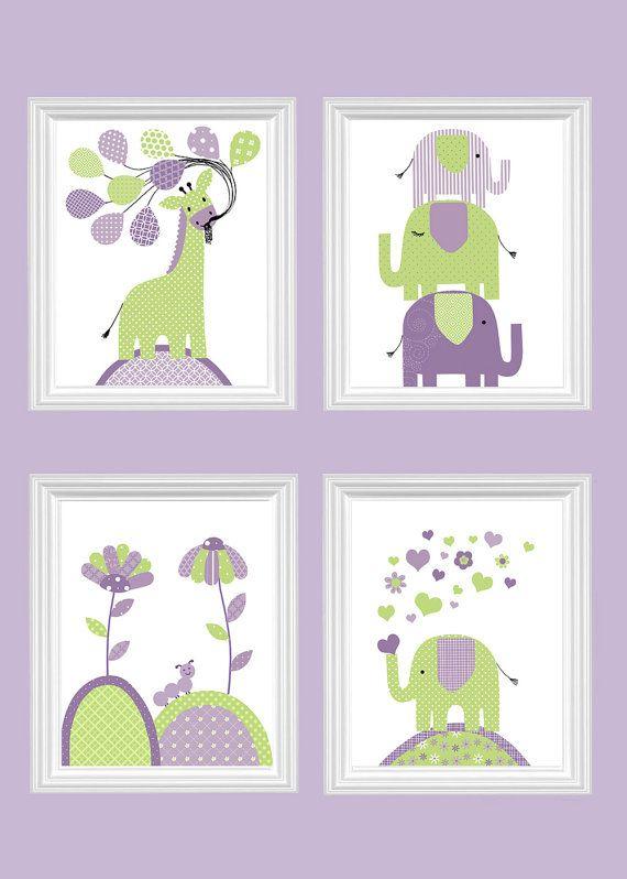 Green and Purple Nursery Art Elephant by SweetPeaNurseryArt
