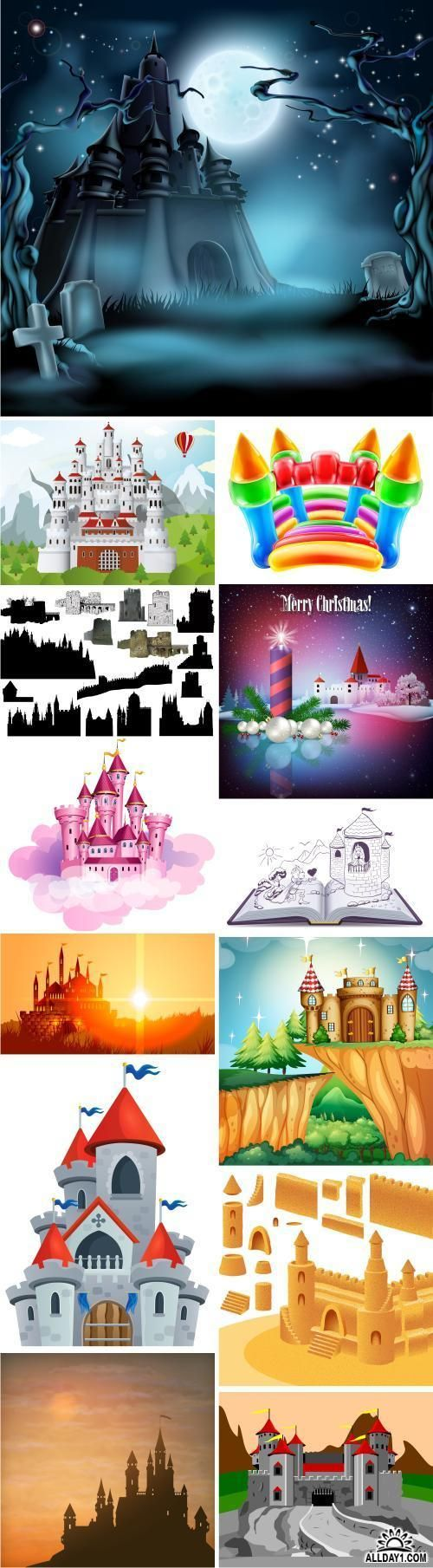 Collection of castle fort icon silhouette of a medieval tower building vector image - 25 EPS