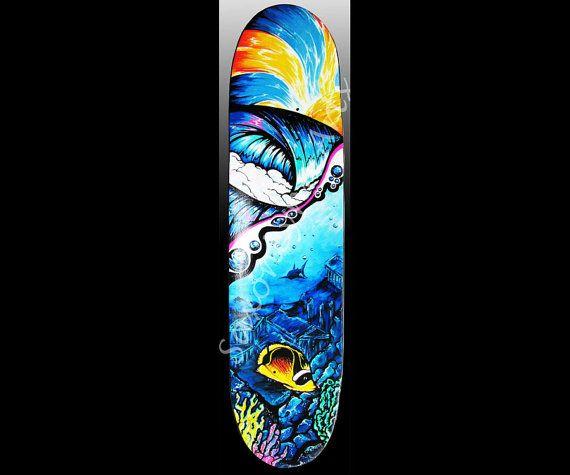 Custom Tropical Skateboard Art -Unique Handpainted Skateboards -Limited Wave Painting Skateboard Custom Painted Skateboards-Fine Art