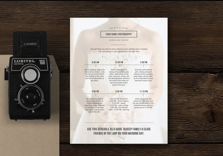 Wedding Day Schedule Template by Design by Bittersweet on @creativemarket