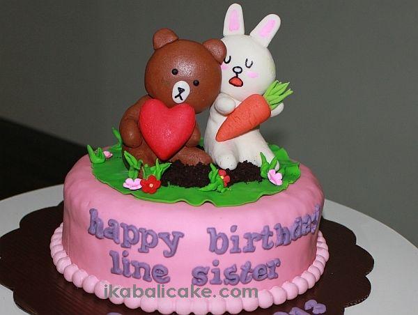 Line Rabitt and Bear Cake ikabalicake.com