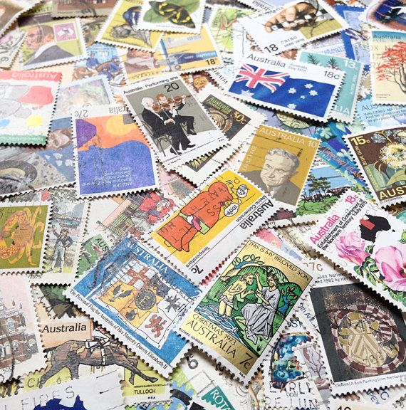 100 Postage Stamps  Vintage Australian Paper by MyVintageSupplies