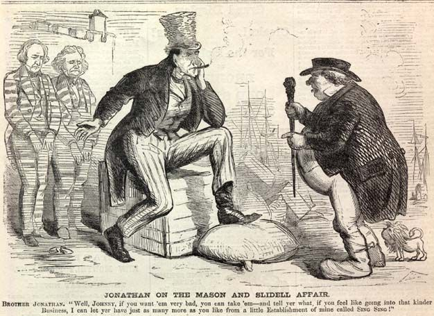 Brother Jonathan (predecessor of Uncle Sam) and the Trent Affair; James Mason and John Slidell can be seen in the background.