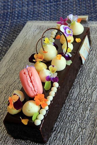 Spring Chocolate Bar by Pastry Chef Antonio Bachour presented on a Glass Studio tray www.the-glass-co.com