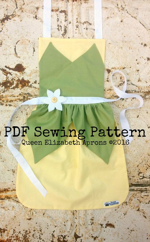 Queen Elizabeth Aprons copyright© 2016 and beyond. This pattern is for personal use only. Finished product may not be used for Retail or Commercial use or resale. Written in US measurements. English language only.  This listing is for a Sewing Pattern to make your own Tiana, Princess and the Frog Child Apron. A PDF file will be available for download immediately after purchase. You can easily print it out from your computer. Click here to purchase the finished apron…