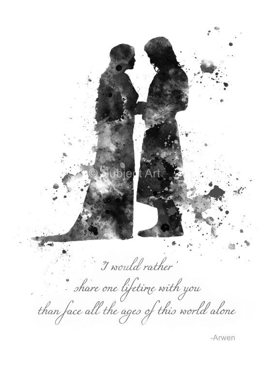 Aragorn and Arwen Quote, Lord of the Rings ART PRINT illustration, Evenstar, Home Decor, Wall Art, Fantasy