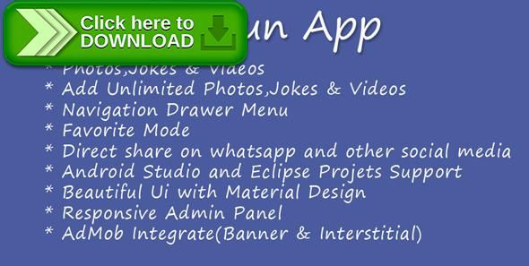 [ThemeForest]Free nulled download All Fun App from http://zippyfile.download/f.php?id=38029 Tags: ecommerce, all fun app, all in one fun app, android fun app, fun app, funny app, funny jokes, funny photos, funny video, jokes app, video app, WallPaper App