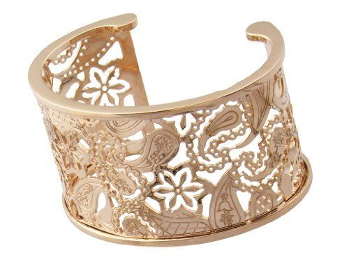 "Rebecca ""Cashmere"" Rose Gold Over Bronze Paisley Cuff (medium) REBECCA. $450.00. Rose gold cuff with paisley cutout pattern Made in IT. Embellished with 'Rebecca' logo and 'Made in Italy' stamp. Rose gold cuff with paisley cutout pattern. 18k rose gold over bronze. Made in Italy"