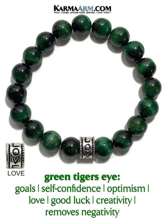 Love Bracelet   DEVOTION   Chakra Yoga Reiki Healing Energy Meditation Jewelry   Wellness Self-Care Mala Bead Wristband   Green Tiger Eye