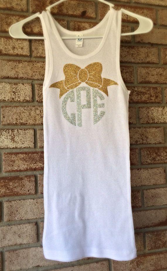 Glitter Monogram Tank Top Monogrammed Tank Top with Anchor, Monogram Bow, Dance Cheer Gymnastics Apparel Women Teens Girls on Etsy, $19.99