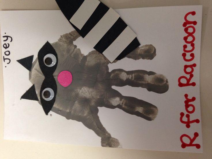 R for raccoon handprint art