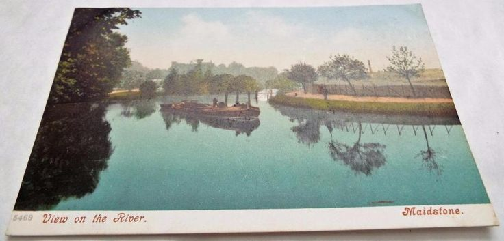 View on the River at Maidstone - Kent - Antique Postcard c1910