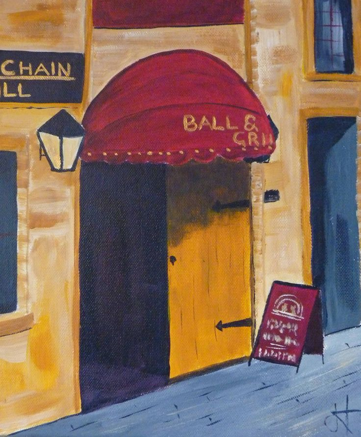 Ball and Chain Hobart Acrylic on Canvas by Jane Holmes 10 x 12 in $200