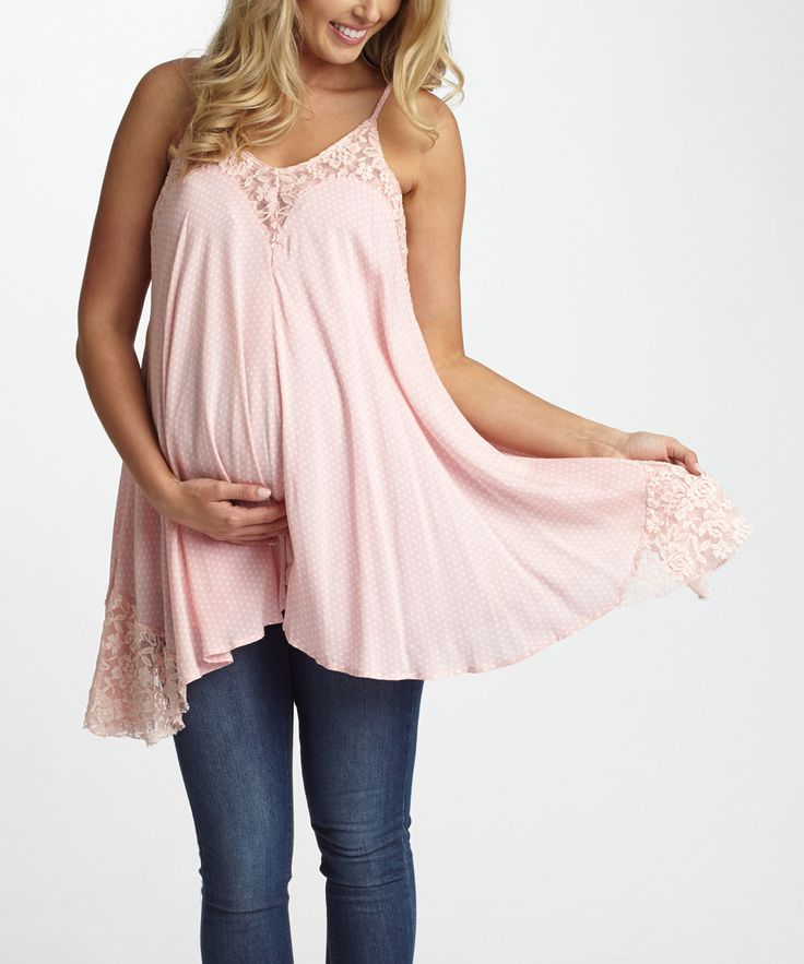 Look at this PinkBlush Pink Polka Dot Maternity Tank on #zulily today!