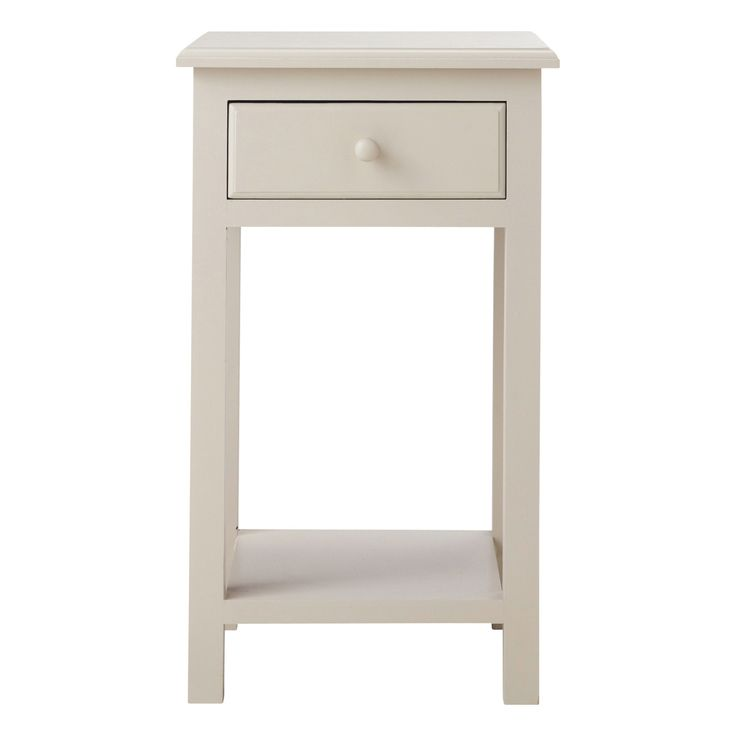 Wooden bedside table with drawer in taupe W 35cm Pastel