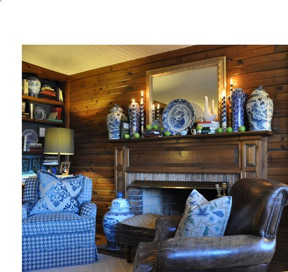 blue and white: Tg Interiors, Decor Ideas, Blue Upholstery, Interiors Design, Studios Interiors, Baker Studios, Leather Chairs, White Jars, Blue And White