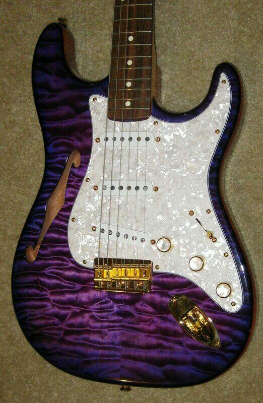 Purple Semi Hollow Strat Guitar Instrument Guitaars