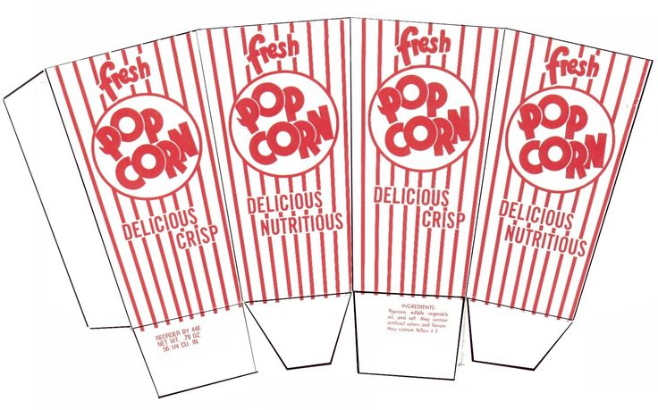 Popcorn box template - Plantilla caja de palomitas de maíz
