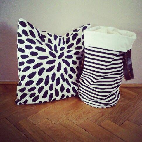 Pillow polka dots and bag stripes