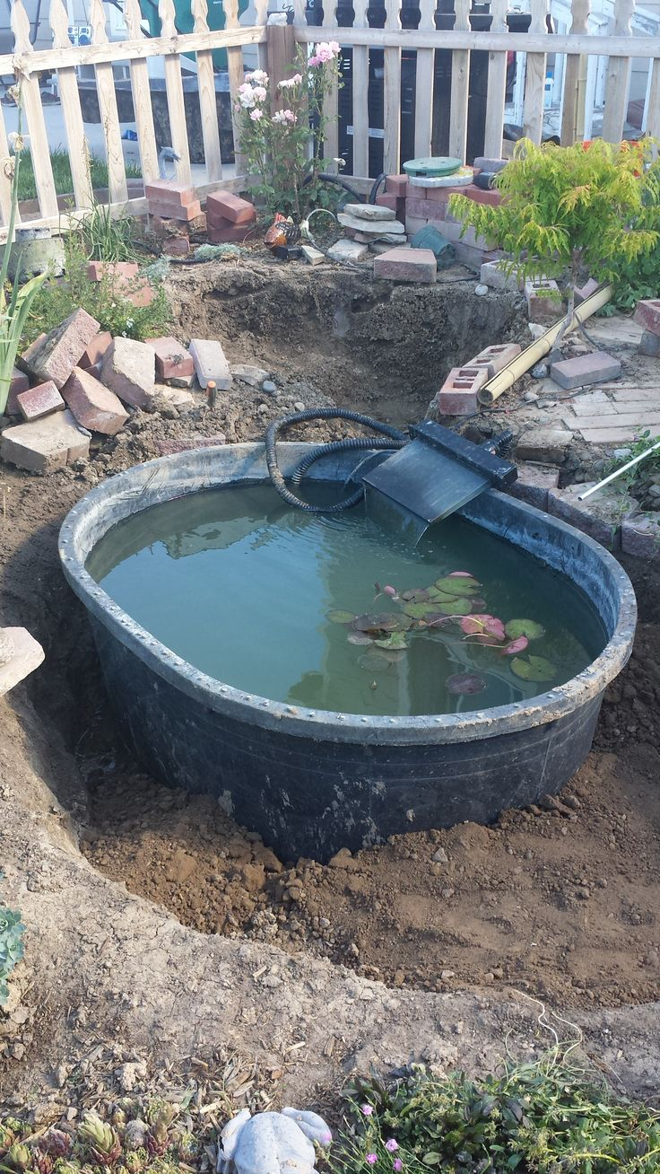 Simple large trough pond being added to a garden ponds for Garden pool facebook