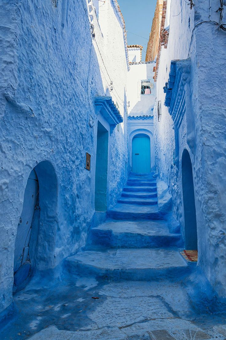 "Chefchaouen, a small town in northern Morocco, is most famous for their vivid blue walls in its ""old town"" sector. The maze-like medina sector features a fusion of Spanish and Moorish architecture. The brilliantly blue walls, however, seem to be unique to Chefchaouen. They are said to have been introduced to the town by Jewish refugees in 1930, who considered blue to symbolize the sky and heaven."