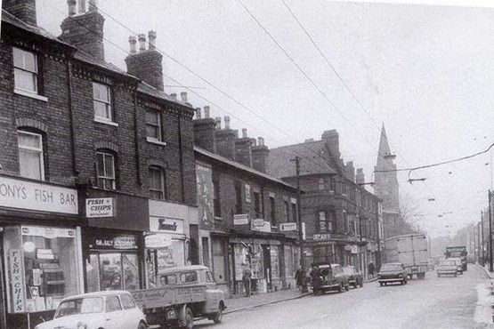 Shops on Arkwright Street in 1973 shortly before they were closed to be demolished.