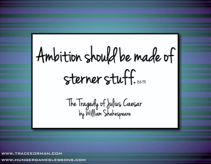 """""""Ambition should be made of sterner stuff."""" The Tragedy of Julius Caesar"""