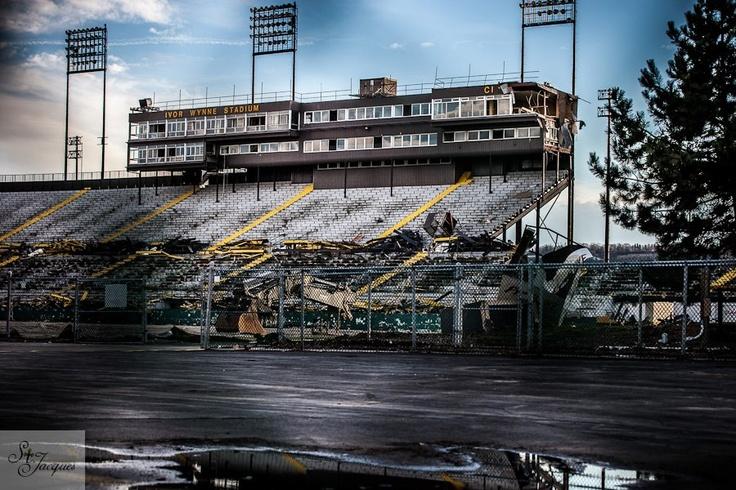 Ivor Wynne stadium during demolition in preparation for Pan Am stadium. 2012. Hamilton, Ontario.