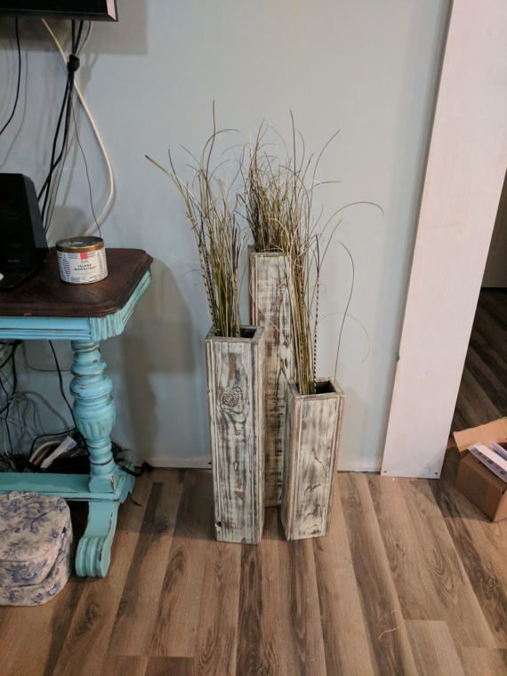 Check out this item in my Etsy shop https://www.etsy.com/listing/489824221/special-set-3-vases-24-28-32-rustic-wood