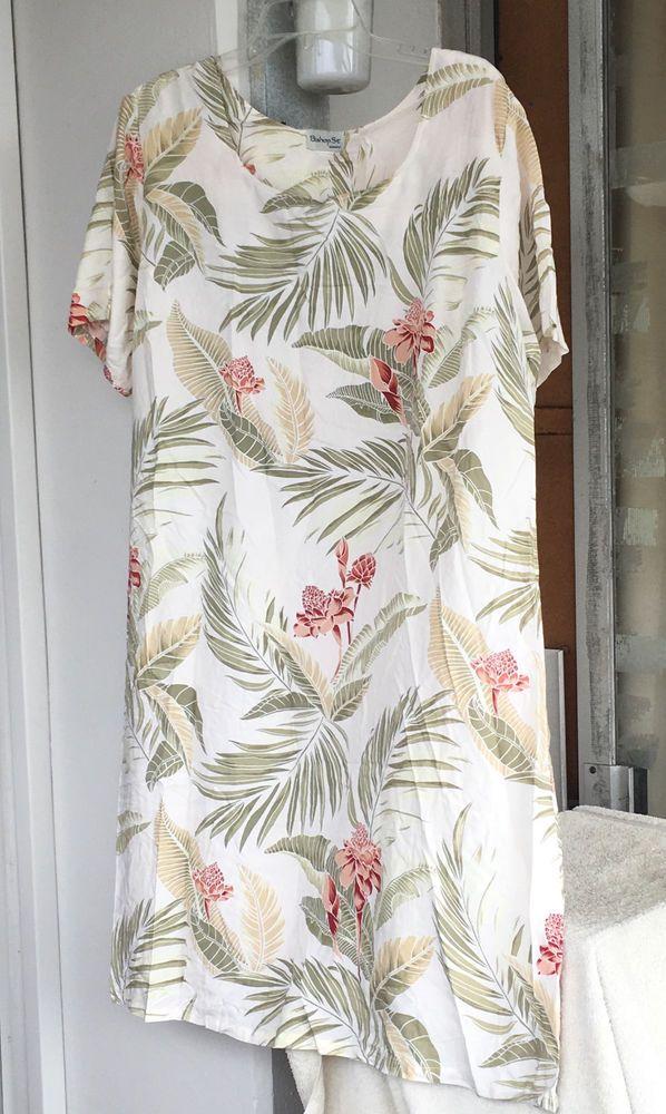 Hawaiian MuuMuu | 2X 3X Plus Size | White Green \