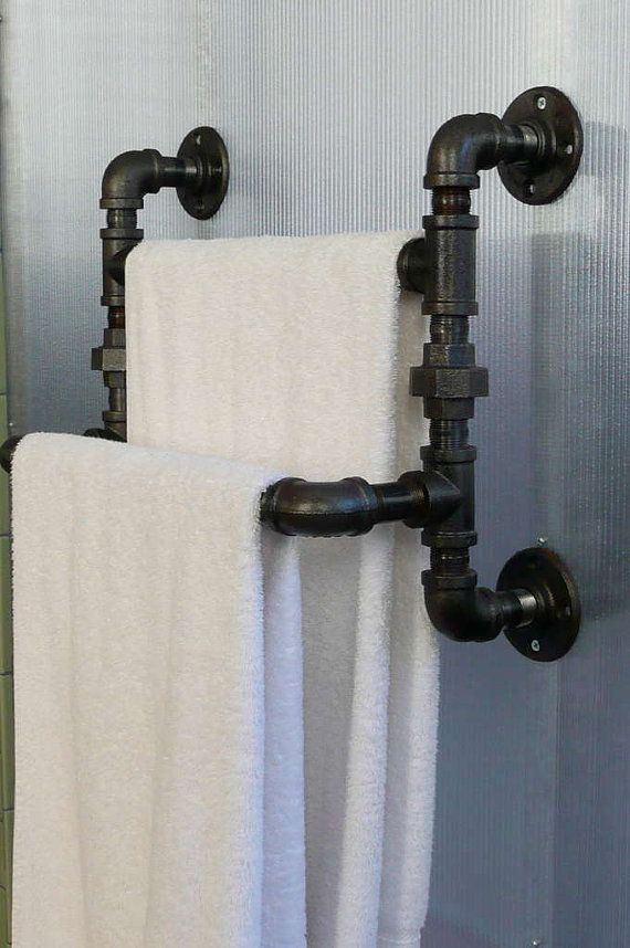Steel pipe towel rack by steelgoods on etsy 125 00 for