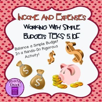 This activity is a wonderful way of allowing kids to balance a simple budget in a hands-on rigorous way! Activity comes with a recording sheet, teacher instructions, 16 Job Cards- with hourly wage, and 24 Expense Cards. Jobs and Expenses are kid friendly and allow students the ability to relate to the task at hand.
