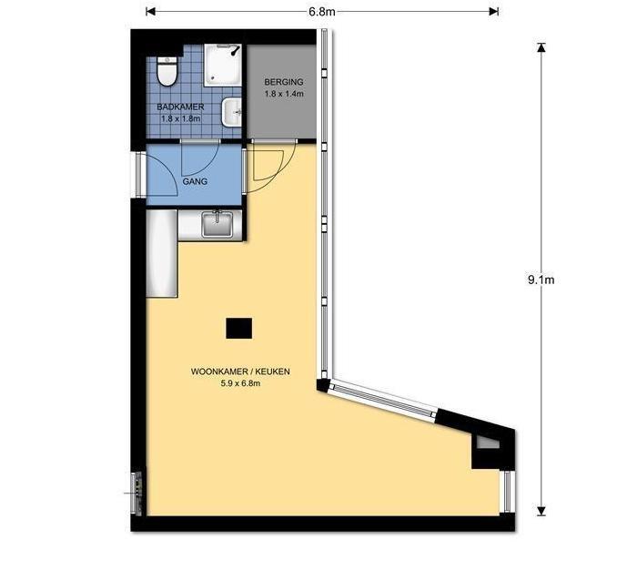 Galerijflat, app bevindt zich op de derde woonlaag, 39m2 woonopp, 1 kamer, badkamer met douche en toilet en een kleine berging