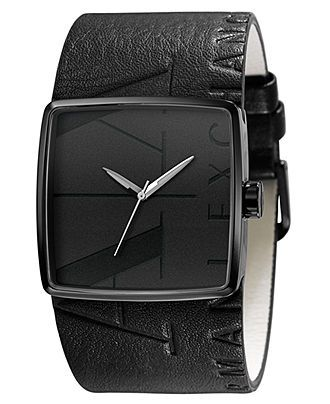 mens watch: A X Armani, Mens, Black Leather, Armani Exchange, Leather Cuffs, Men Watches