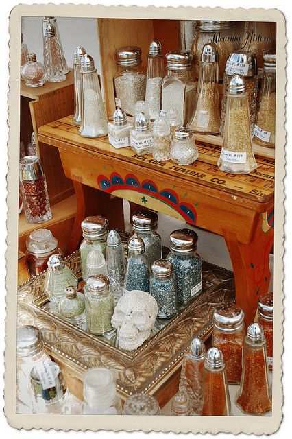 What an amazing idea for storing beads and glitter. The Vintage Marketplace- Sept 2012 by WearingHistory, via Flickr