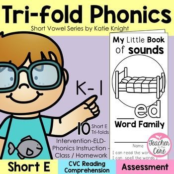 Short E Phonics Tri-Fold Brochures from Teacher to the Core! Short vowel CVC words are essential for kids learning to read. This unit features short vowel A phonics tri-folds that are easy to prep and use for small or whole group instruction. These make wonderful homework and are great for ELD since they have constant picture clues. @katiehappymom