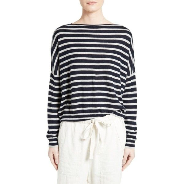 Women's Vince Skinny Stripe Cashmere Sweater ($245) ❤ liked on Polyvore featuring tops, sweaters, drop shoulder sweater, stripe top, pure cashmere sweaters, striped top and slouchy sweater