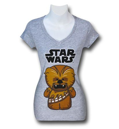 Star Wars Cute Chewbacca Women's V-Neck T-Shirt...can't WAIT until it gets here!!!
