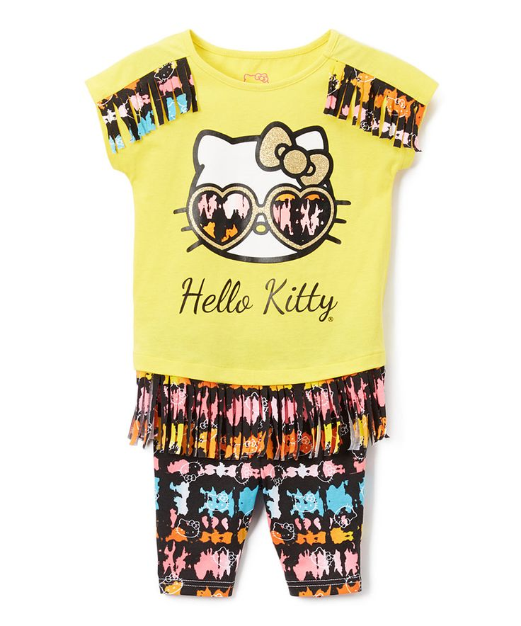 Take a look at this Weeplay Kids Yellow Hello Kitty Fringe Tee & Bike Shorts - Toddler & Girls today!