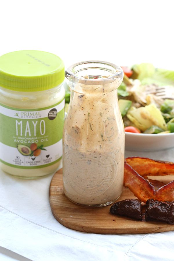 Chipotle Ranch Dressing. Best low carb dressing recipe! All the smoky goodness of chipotle and bacon in a paleo friendly dressing. Perfect for salad, chicken or fish.