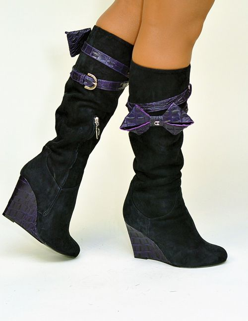 2713 #Dibrera - #Suede knee-high #wedge #Boot with #Bow $675 on sale now! http://www.rinastore.com/2715-dibrera-boots-blue/dp/5287 Available at Rina's Boutique.