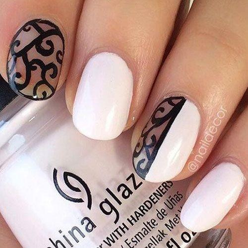 49 best white nail polish images on pinterest nail scissors white nail polish designs 14 designs prinsesfo Choice Image