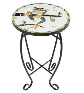 Round Frog On Branch Glass Mosaic Table  $32.95