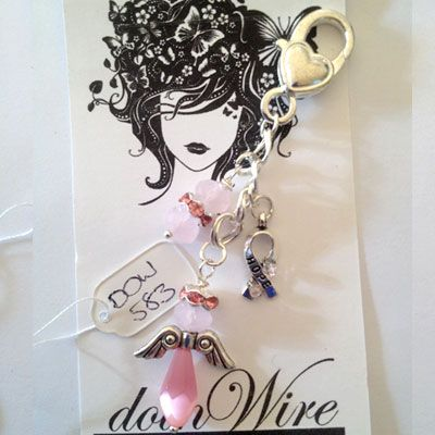 doinWire handcrafted craft wire Clip-On dangler Angel with pink halo, pink Cat-Eye teardrop Crystal and Awareness Charm wrapped with lt pink crystals on chain. DOW583