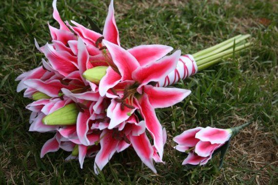 Pink Tiger Lily Bouquet and Boutonniere via Etsy
