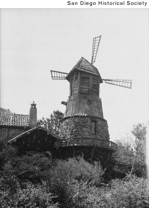 Title:  Windmill at the Ramona Castle  Date:  [ca. 1925] 1920/1930  Contributing Institution:  San Diego History Center (formerly San Diego Historical Society)